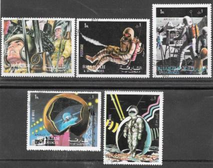 Sharjah MNH Set Of 5 Space Apollo 17 1972