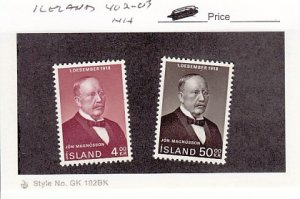 J25772  jlstamps 1968 iceland set mnh #402-3 magnusson checked f/condition
