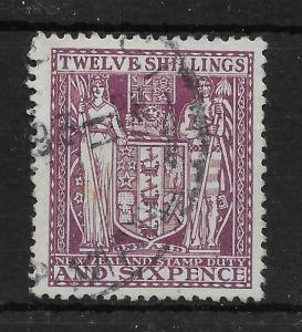NEW ZEALAND SGF156 1935 12/6 DEEP PLUM ARMS USED