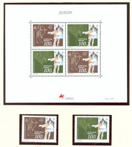 MADEIRA EUROPA 1994 #174-175a...SET & SOUV. SHEET...MNH...$7.25
