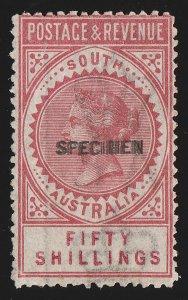 SOUTH AUSTRALIA 1886 QV Postage & Revenue 50/- SPECIMEN , ERROR DOUBLE. RARE!