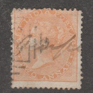 India stamp, Scott#23A, used, light orange, pen cancell, two annas.   #M633