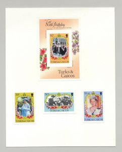 Turks & Caicos #676-679 Queen Mother 85th Birthday 3v & 1v S/S Imperf Proofs