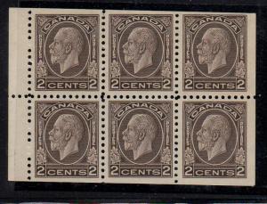 Canada Sc 196b 1933 c brn G V stamp bklt pane of 6 mint
