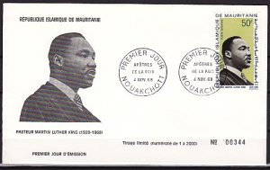 Mauritania, Scott cat. C77. Martin Luther King, Jr. issue. First day cover. ^