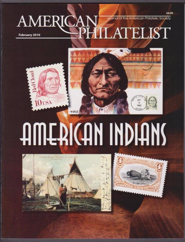 APS Magazine Feb 2010 , American Indians on Stamps - I Combine S/H
