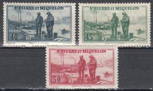 St Pierre & Miquelon, Sc 182-184, MH, 1940, Fault: #184 torn on bottom