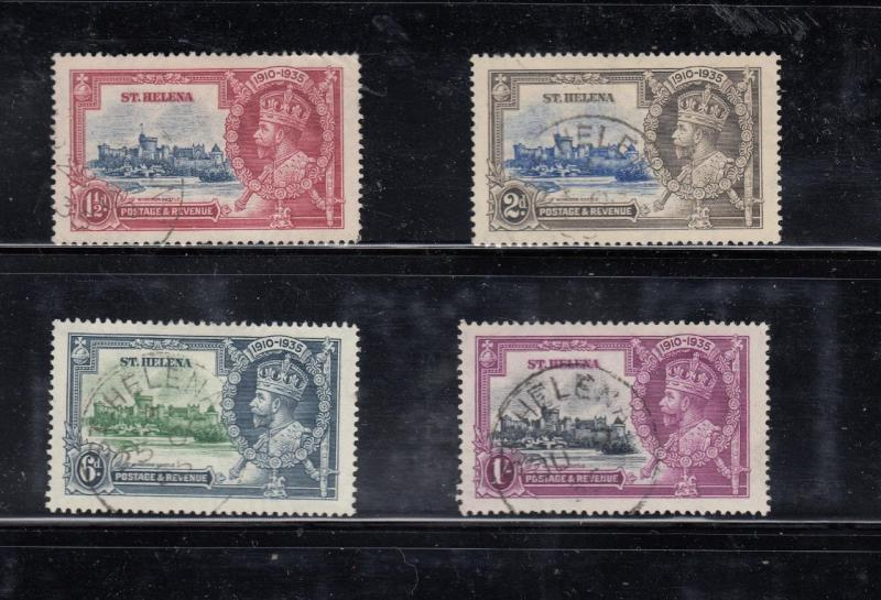 ST HELENA # 111-114 VF-SON CANCELLED KGV SILVER JUBILEES CAT VALUE $33.25