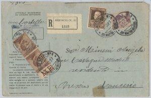 ITALIA REGNO:  Sass 84 coppia Bordo di Foglio  + 214  su BUSTA RACCOMANDATA 1927
