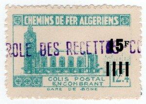 (I.B) France Colonial Railway : Algeria Chemins de Fer 15F on 12.4F OP