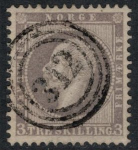 Norway #3  CV $120.00  VF+ Three-ring numeral 312 (Tromso, Norway) cancellation