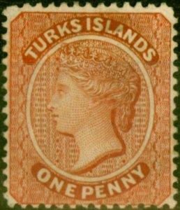 Turks Islands 1883 1d Orange-Brown SG55 Fine Mtd Mint