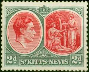 St Kitts & Nevis 1941 2d Scarlet & Grey SG71a Chalk Fine Mtd Mint (2)