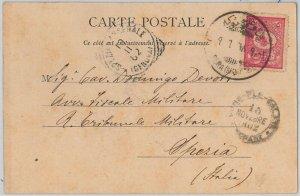 51003  TURKEY Türkiye -  POSTAL HISTORY: POSTCARD to ITALY 1902 - Pera Grand Rue