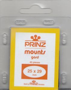 PRINZ CLEAR MOUNTS 25X29 (40) RETAIL PRICE $3.99