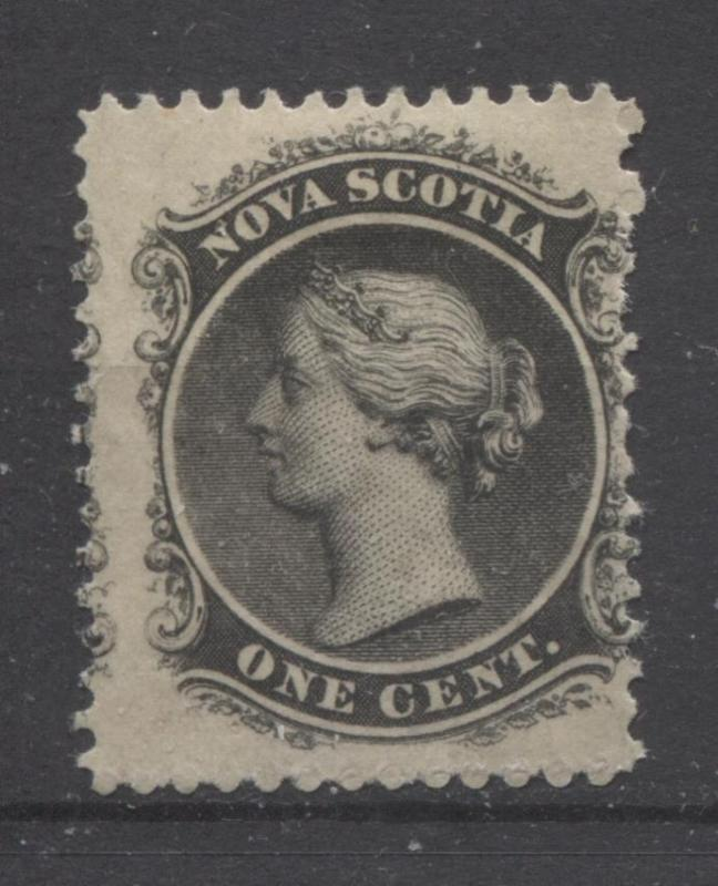 Nova Scotia #8 1c Grey Black 1860-63 Cents Issue - Yellowish Paper  VG-55 OG