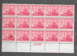 736 Unused,  Maryland Tercentenary, Plate Block of 15, FREE Shipping,
