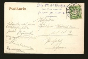 Bavaria 62 on PM Passau 1910 Postcard Used
