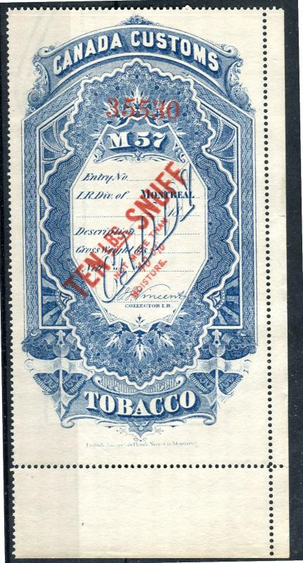 Canada #RS15 10lb Blue 1883 Snuff Stamp Montreal Division VF-75 Mint