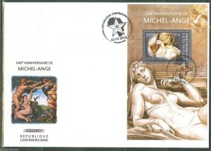CENTRAL AFRICA 2015 540th BIRTH ANNIVERSARY OF MICHELANGELO S/S FIRST DAY COVER