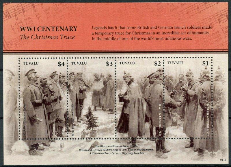 Tuvalu Military Stamps 2019 MNH WWI WW1 Christmas Truce World War I 4v M/S