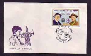 Peru, Scott cat. 1125 A-B. Scouting Personalities on a First day cover.