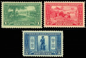 Lexington Concord Mint Very Fine Set of Three Stamps Postage Stamps Scott 617-19