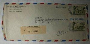 Paraguay REgistered Airmail Cover to USA Etiquette Label Waukegen IL 1955 Sc#226