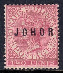 MALAYA (JOHORE) — SCOTT 5 (SG 9) — 1884 JOHOR OVERPRINT — MH — SCV $18