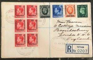 1939 Tetuan Morocco Agencies Registered cover To London England