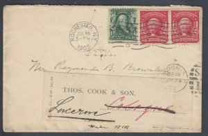 US 1905 cover from Rochester NY to Thomas Cook in GERMANY, fwd to Switzerland