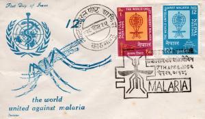 Nepal 1962 Sc#135/136 Mosquito-Malaria-WHO-Medicine (2) FDC