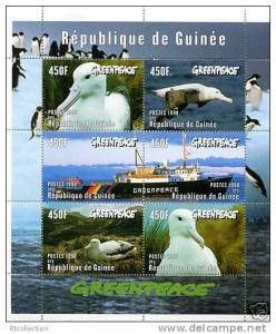 Guinea MNH S/S 1469 Birds Ship Greenpeace 1998