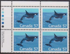 Canada USC #1173i Mint VF-NH 1988 57c Killer Whale UL Imprint Block
