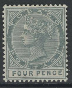 TOBAGO SG22ca 1885 4d GREY SLASH FLAW REPAIRED MTD MINT