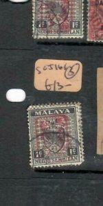 MALAYA JAPANESE OCCUPATION NS (P1512B)  1C ARMS RED  CHOP  3   SG J161   VFU