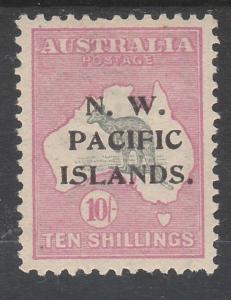 NWPI NEW GUINEA 1915 KANGAROO 10/- TYPE B 1ST WMK