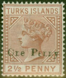 Turks & Caicos Is 1889 1d on 2 1/2d Red-Brown SG61var Ore Perny Fine Mtd Mint
