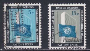 United Nations - New York # 108-109, Flag & UN Building, Used, 1/3 Cat.