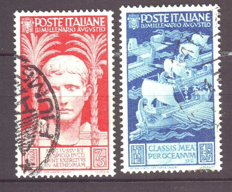 J22595 Jlstamps 1937 italy used #383-4 designs designs