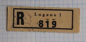 Lugano 1 Switzerland Registered R # mail label letter etiquette black ink stamp