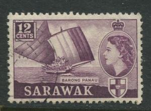 Sarawak -Scott 203 - QEII Definitives - 1955 - FU - Single 12c Stamp