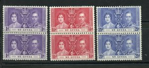 ST. LUCIA CORONATION GEORGE VI 1937 SC# 107-9 MINT NEVER HINGED PAIRS AS SHOWN