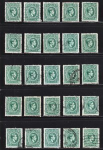 Jamaica Scott 116 F to VF used. Nice study group for shades, perfs, paper type.