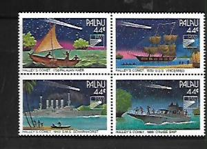 PALAU, 95-98, MNH, SS, BLOCK OF 4, HALLEY'S COMET