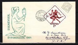 Hungary, Scott cat. 1595. Sports-Track issue. Mailed First day cover.
