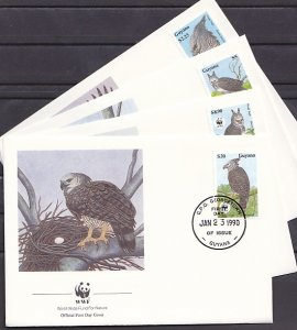 Guyana, Scott cat. 2241-43, 2246. W.W.F.- Eagles issue. 4 First day covers. ^