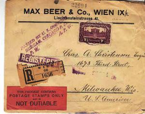 Austria - Registered Cover to US 1921