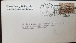 L) 1948 PHILIPPINES, 6C, FAO, BROWN, MANILA, CIRCULATED COVER FROM PHILIPPINES