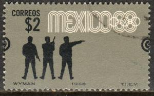 MEXICO 995, $2P Pistol Shoot 4th Pre-Olympic Set Used. F-VF.(756)